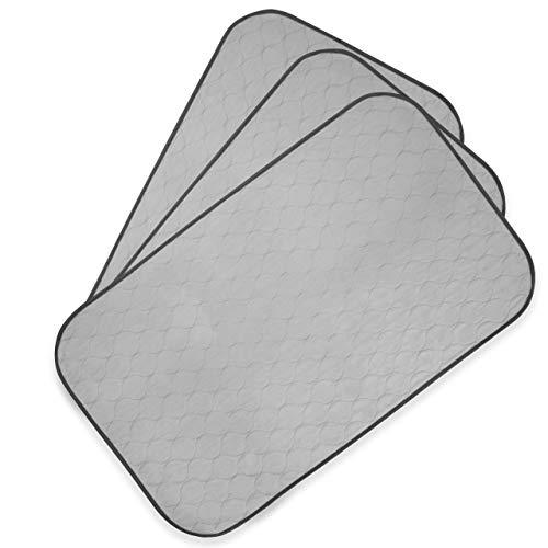PET MAGASIN Sehr saugfähige, Wiederverwendbare und waschbare Trainingspads für Haustiere mit wasserdichter Unterseite (3 Stück), grau, passend für Standardkäfig, M 83,8 cm x 50,8 cm (3 Stück)
