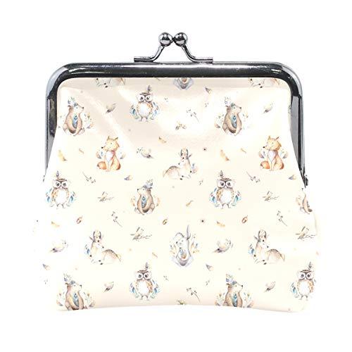 Fox Rabbit Owl Pattern - Monedero de piel con cierre de monedero para mujeres y niñas