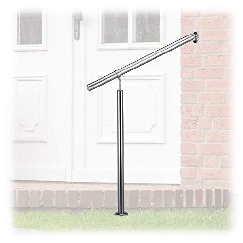Relaxdays, Silber Treppengeländer Edelstahl, für Drinnen und Draußen, 80 x 90 cm, mit Wandhaltern+Metalldübeln, 800 mm