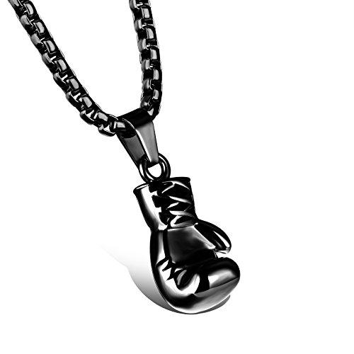 Schmuck Edelstahl Herren Damen Halskette Boxhandschuhen Paar Freundin Anhänger Hochglanz Poliert mit 60cm/55cm Kette (Schwarz (Frauen))