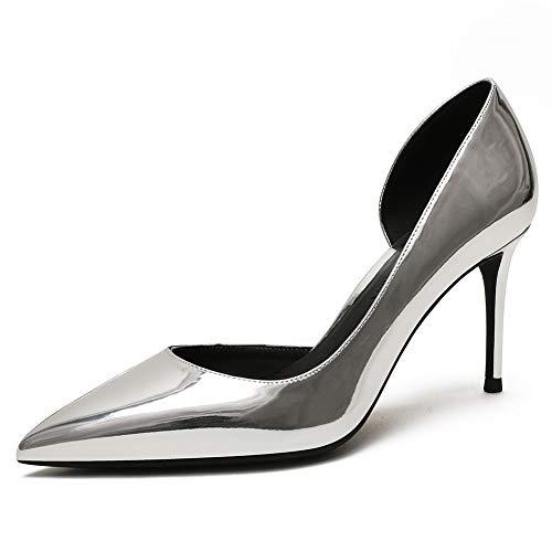 Zoducaran 8CM Heel Elegante Mujer 2 Pieces Pumps Stiletto Heels Ponerse Business Zapatos Basic Pointed Toe Boda Party Heels Patent Silver Size 38