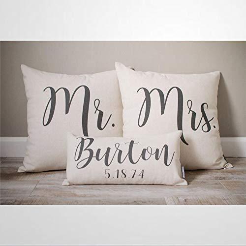 EricauBird Regalo para parejas, regalo de boda, regalo personalizado de boda, regalo de compromiso personalizado Mr And Mrs, juego de almohada funda de cojín funda de almohada de 30,5 x 50,8 cm