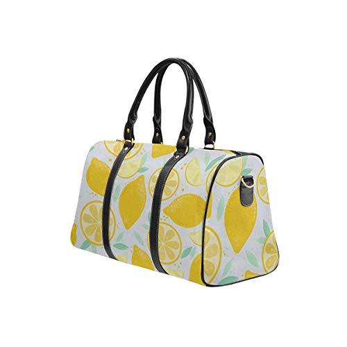 INTERESTPRINT Fresh Yellow Color Lemon Background Travel Duffel Bag Waterproof Overnight Bag Weekend Carryon Handbag