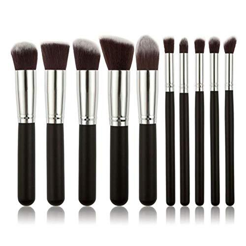 LZJE Pinceaux de Maquillage Set Eye Shadow Foundation Poudre Eyeliner Eyelash Lip Make Up Brush Cosmetic Beauty Makeup Brush, 10PCS-Black-Silver