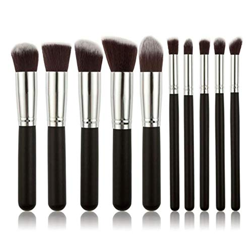 QWK Makeup Brush Set Eyeshadow Foundation Liquid Eyeliner Eyelash Lip Makeup Brush Cosmetic Tool, 10PCS-Black-Silver