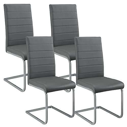 ArtLife Freischwinger Schwingstuhl Vegas 4er Set – Esszimmerstuhl mit Metall-Gestell & Bezug aus Kunstleder – Moderner Küchenstuhl in Grau