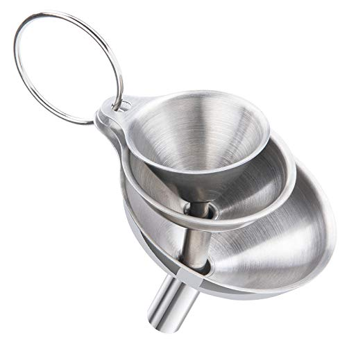 3 PCS Stainless Steel Kitchen Funnel, No Spilling Food Grade Metal Funnels for Transferring Liquids, Fluid, Ingredients & Powder