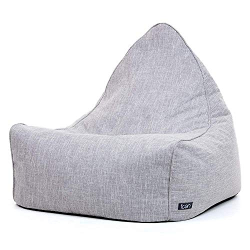 icon Oslo Lounger, Scandi Woven Herringbone Bean Bag - Grey, 70cm x 80cm, Large - Triangle Pyramid Living Room Bean Bags