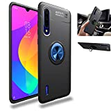 Xiaomi Mi A3 Lite Case,360° Rotating Ring Kickstand Protective Case,Silicone Soft TPU Shockproof Protection Thin Cover Compatible with [Magnetic Car Mount] for Xiaomi Mi 9 Lite Case(Blue/black)