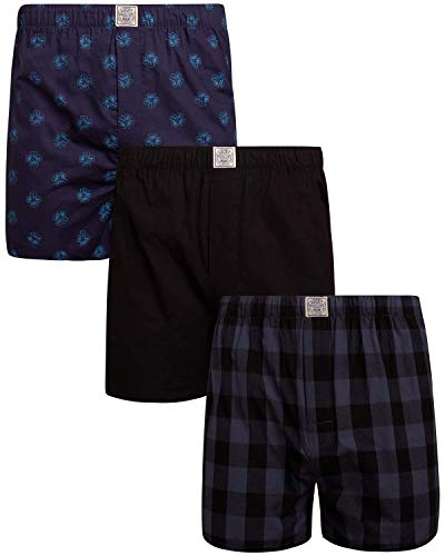 Lucky Brand Men's Woven Cotton Elastic Waist Boxer with Functional Fly (3 Pack), Indigo Plaid/Black/Indigo Print, Size Large