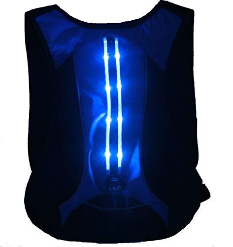 PintoMed Zaino con Sicurezza a LED, con Batteria e Cavo di Ricarica. Ideale per la Notte per Lo Sport. Ciclismo, Corsa e Aria Libera. Impermeabile. Riflettente. (LED Verde) (Blu)