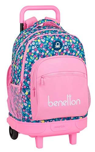 safta Mochila Escolar con Carro Incluido y Espalda Acolchada de Benetton Blooming, 330x220x450mm, rosa/multicolor, m (M918A)
