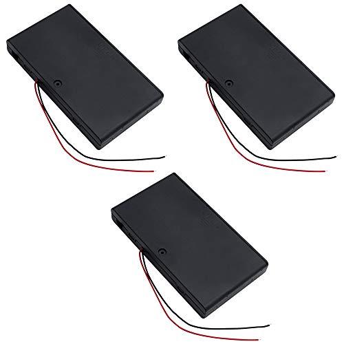 TXErfolg AA 12V Caja de soporte de batería Caja de plástico para almacenamiento de batería con interruptor de encendido / apagado y sujetacables Capacidad de batería de 8 celdas con tapa - 3 piezas