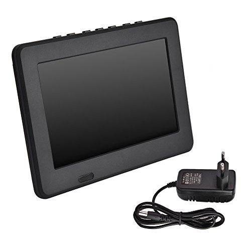 CHICIRIS TV portátil, Reproductor de Video TFT-LED 1080P de 7 Pulgadas Tarjeta USB TF DVB Televisión Digital para el automóvil en casa(Enchufe de la UE)