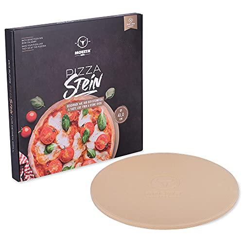 Moesta-BBQ 10374 - Pizzastein No. 1 - Rund 41cm Durchmesser - Cordierit Naturstein – Italienischer Genuss vom Grill