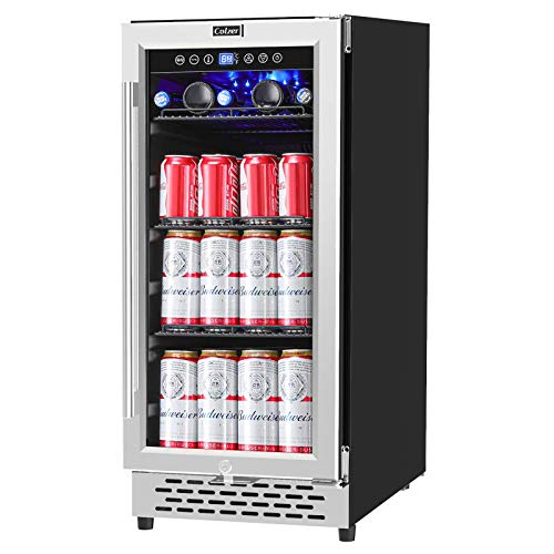 COLZER 15 Inch Beverage Cooler Refrigerator - 126 Cans Freestanding and Built-in Mini Fridge with Glass Door for Soda Beer Wine or Water - Under Counter Compact Drink Fridge for Kitchen Bar Office