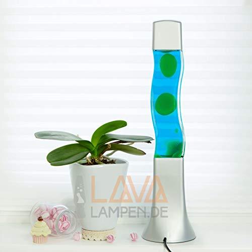 """Quadratische Lavalampe""""Beckster"""", Flüssigkeit blau, Wachs grün 41cm hoch Lavaleuchte"""