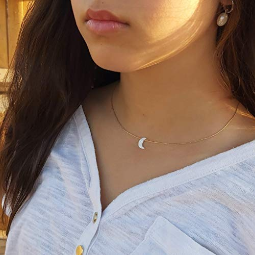White Opal Moon Necklace Crescent Moon Choker Jewelry 14K Gold Filled dainty Box chain Length 16+2 Inches extender Gift for Girl Women
