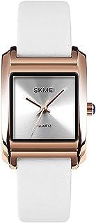 ساعة نسائية بسيطة كوارتز رسمية ساعة عملية كاجوال مربعة مع حزام جلدي أحمر (اللون : أبيض)