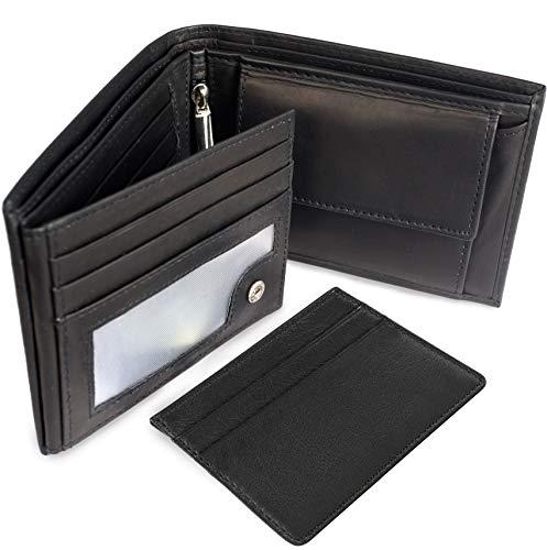 GEOGEO Ledergeldbörse aus echtem Leder mit RFID Schutz und Mini Wallet, Schwarz Herren