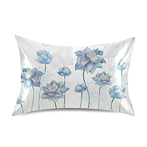 Satin Pillowcase Pillow Covers Pale Blue Lotus Flowers Cushion Luxury Soft Throw Pillows Bedside Pillow Cases Protectors Home Decorative with Envelope Opening Silk Fabrics for Adults