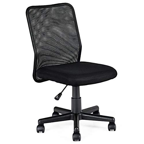 Giantex Ergonomic Desk Chair Mid-Back Armless Mesh Office Chair with Lumbar Support, Swivel Computer Office Desk Task Chair for Home Office