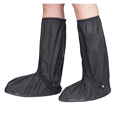 shoe wasserdichte Schuhabdeckung Männer und Frauen Falten Regen Stiefel Reflektierende High Tube Outdoor Radfahren Wandern Wandern (Color : Black, Size : X-Large)