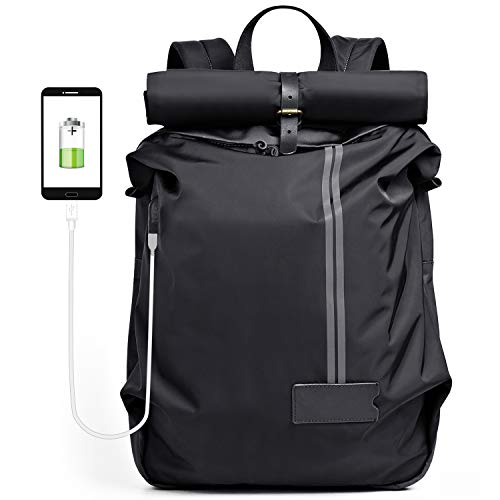 Mupack Anti-Theft Roll Top Backpack - 15.6 inch Travel Laptop Backpack with USB Port, Waterproof Hiking Rucksack Lightweight Casual Daypack Traveling Business for Men Women