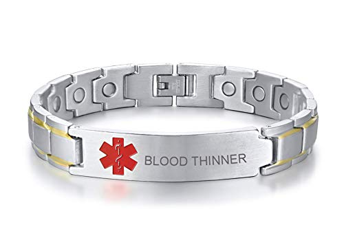 Affordable XUANPAI Blood THINNER Stainless Steel Brushed ID Identity Magnet Therapy Medical Alert ID...