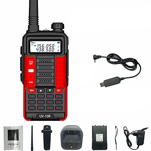 Walkie Talkie Profesional Walkie-Talkie Uv10R Dual Frecuencia Mejorado 110 X 58 X 32Mm V2-Uv10R-Rojo-Usb