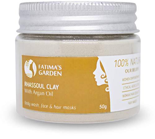 Ghassoul en poudre par Fatima's Garden - Marocain 100% naturel enrichi à l'huile d'Argan et Eucalyptus pour visage, cheveux & Hammam - Purifiant pour la peau; Végan sans cruauté-150gr