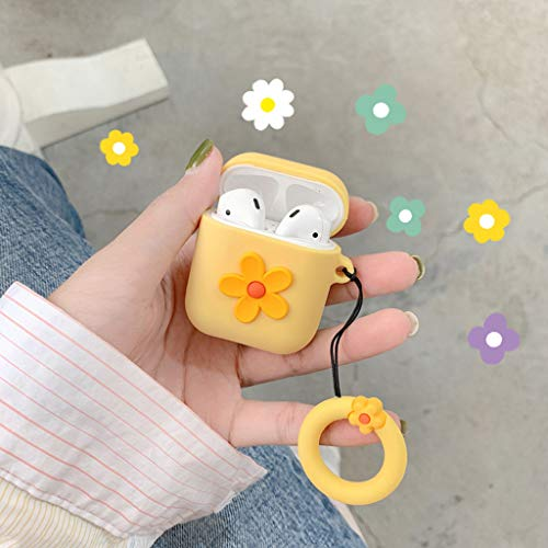 RGBIWCO - Airpods Case,Fashion Cute Flower Airpods Protect Case Soft Silicone Shockproof Cover with Carabiner for Apple Airpods 1/2 Charging Box