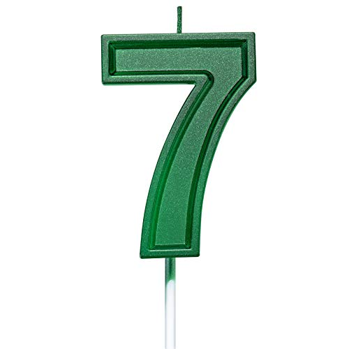 2.75in Tall Green Number 7 Birthday Candles, Glitter 7 Green Happy Birthday Cake Cupcake Toppers Decoration and Celebrating for Adults/Kids Party Baking (2.75in Green Number 7)