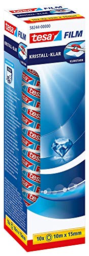 tesafilm kristall-klar - Hochtransparentes, alterungsbeständiges Klebeband mit starker Haftung - 10 m x 15 mm - 10er Pack