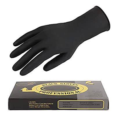 20 Counts Hair Dye Gloves, Segbeauty Black Reusable Rubber Gloves, Powder Free Rubber Latex Gloves, Professional Hair Coloring Accessories Tool for Barber Hair Salon Hair Dyeing