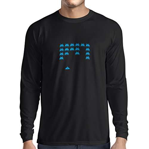 lepni.me T-Shirt Manches Longues Homme Vieux Joueur d'école, Chemise de Jeux vidéo pour l'amant de Jeu (XX-Large Noir Bleu)
