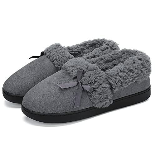 Mishansha Viscoelástica Pantuflas Hombre Casa Zapatos de Felpa Espuma de Memoria Zapatillas Cálido Slippers Gris 38 EU