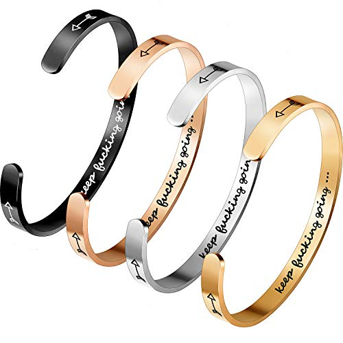 4 Pieces keep going bracelet inspirational bracelet Cuff Bangle Bracelets Adjustable Opening Engraved Keep Bucking Going for Women Men Girls Boys, Inspirational Gift for Birthday and Other Occasions