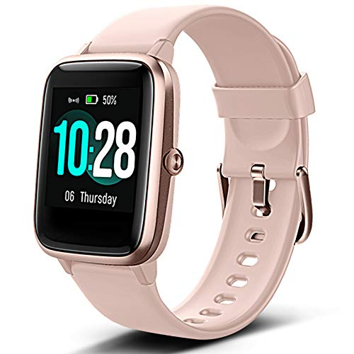 Lintelek Smart Watch with 1.3' LCD Full Touch Screen, Large Screen Fitness Tracker with Heart Rate Monitor, Pedometer, Sleep Tracker, Waterproof Activity Tracker for Men, Women and Gift (Pink)