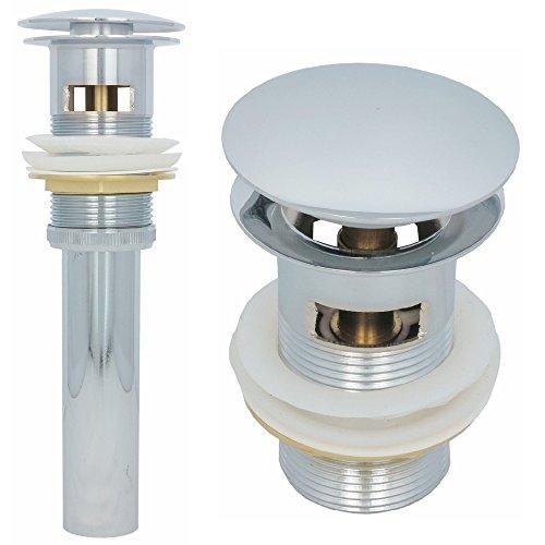 Ablaufgarnitur Waschbecken mit Überlauf Ablaufventil Universal Abflussrohr Pop up Ventil in Chrom
