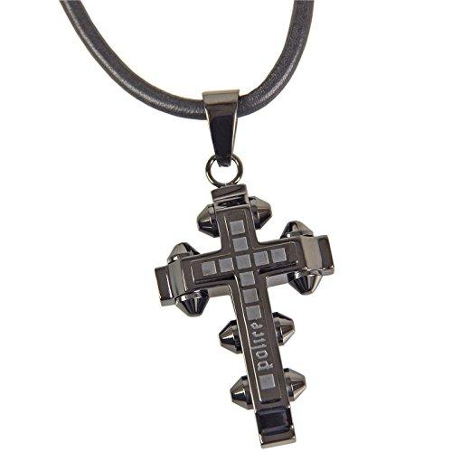 POLICE Leder Halskette FAITH Herren Kette Edelstahl Schmuck Kreuz PJ24135PLU.01
