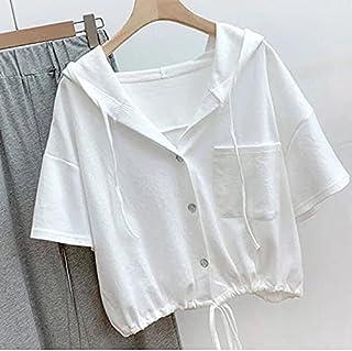 Wanxiaoyyyindx T Shirts for Women, 1Pc Cotton Hoodie O-neck T-Shirt Women Loose Blouse Summer Short-sleeved Shirt Women (C...