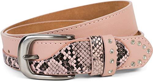 styleBREAKER Cintura da donna con strass in finta pelle di serpente, accorciabile 03010102, dimensione:95cm, colore:Rosa antico vecchio