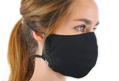 KMINA PRO - Masques Lavables (2 unités), Masques Attaches Derrière la Tête, Masque Noir, Masque Noir Lavable, Masque Réutilisable, Masque Lavable, Masque Tissu Lavable, Masques Tissus Reutilisables