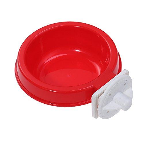 POPETPOP à Suspendre pour Animal Domestique Bol Plastique Alimentaire Eau Feeder pour caisses et Cages pour Lapin Bird Hamster Furet Taille S (Rouge)