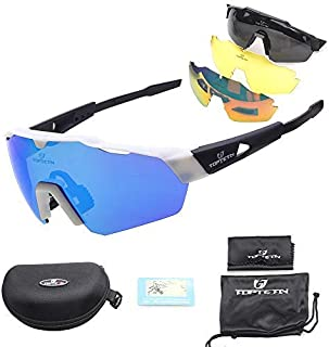 71c9784a40 Toptotn Gafas de Sol Deportivas, Gafas De Sol Polarizadas para Ciclismo con  3 Lentes Intercambiables