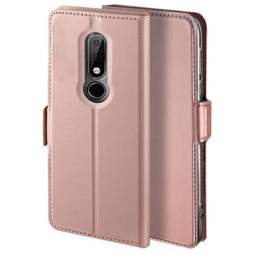 YATWIN Handyhülle für Nokia 6.1 Plus Hülle Leder Premium Tasche Hülle für Nokia 6.1 Plus, Schutzhüllen aus Klappetui mit Kreditkartenhaltern, Ständer, Magnetverschluss, Rose Gold