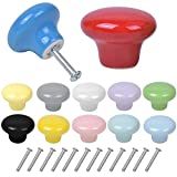 12 PCS Colorate Pomelli per Cassetti 32MM Pomelli Rotondi in Ceramica Pomelli per Mobili Fungo Manopole per Cassetti e Cucine Pomolo per Mobile Pomelli per Porta Mobili da Cucina Camera dei Bambini