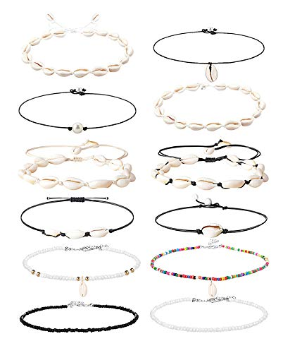 Hanpabum 12 PCS Pearl Shell Choker Necklace Adjustable Natural Cowrie Seashell Necklace Bohemian Handmade Beaded Beach Jewelry Set
