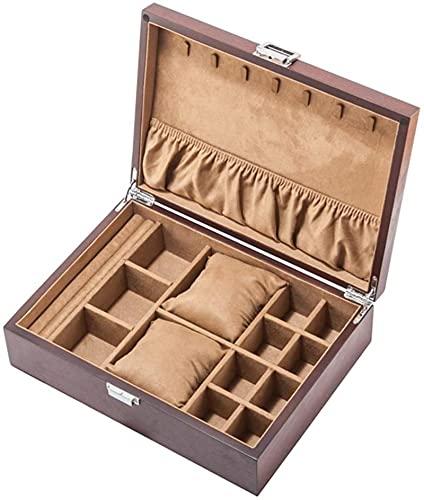 WatchBox - Caja de reloj multifunción de madera, caja de almacenamiento para joyas, gran capacidad, multirejilla, cerradura de metal/regalo para mujer